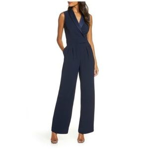 Eliza J Navy Blue Sleeveless Wrap Jumpsuit